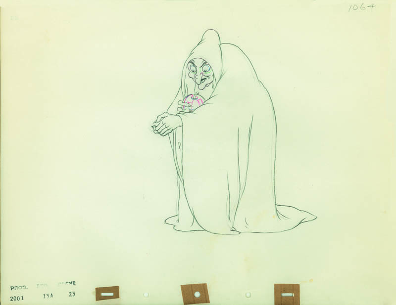 #011 ANIMATION DRAWING of THE WITCH POLISHING THE APPLE Image