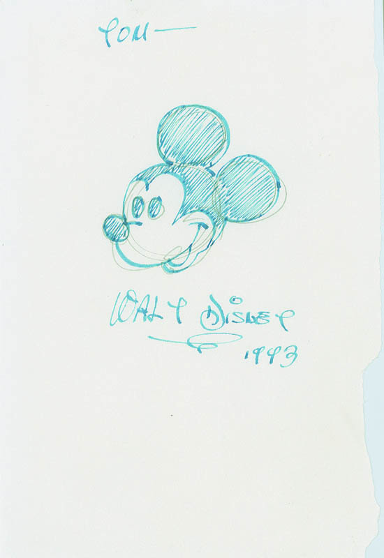 #001 SIGNED DRAWING of MICKEY MOUSE by WALT DISNEY Image
