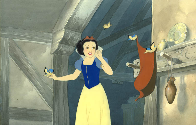 #008 SNOW WHITE AND BIRDS with KEY MASTER BCKGROUND Image