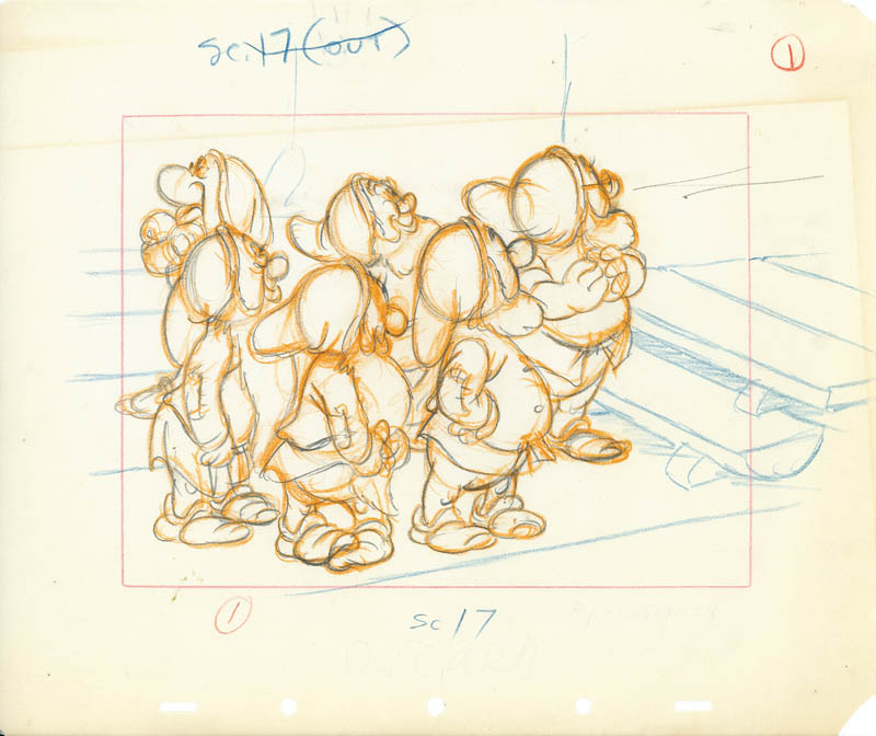 #010 DWARFS AT STAIRS LAYOUT DRAWING Image