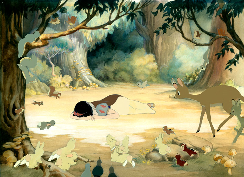 #004 SNOW WHITE AND FOREST ANIMALS with KEY MASTER BACKGROUND Image